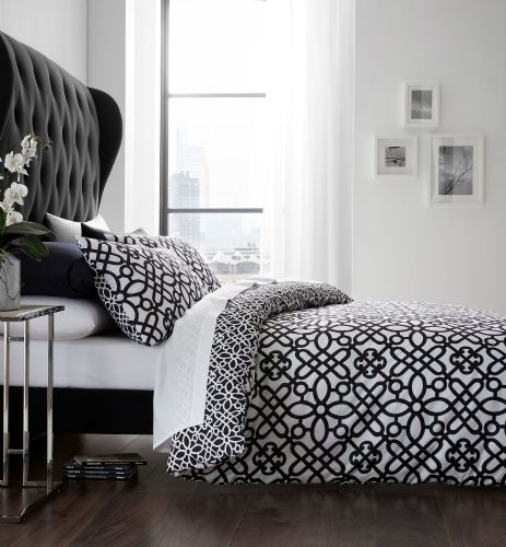Catherine Lansfield Medina Trellis Black & White Bedding Set